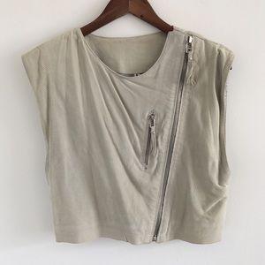 Iro Beige-Gray Suede Moto Vest Size 2